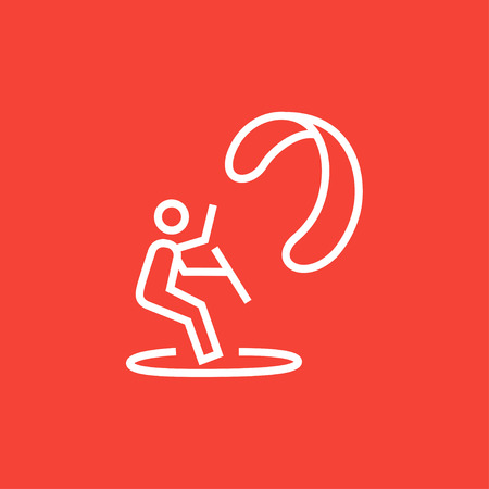 kite surfing: Kite surfing thick line icon with pointed corners and edges for web, mobile and infographics. Vector isolated icon.