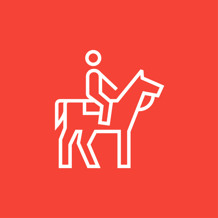 Horse riding thick line icon with pointed corners and edges for web, mobile and infographics. Vector isolated icon.