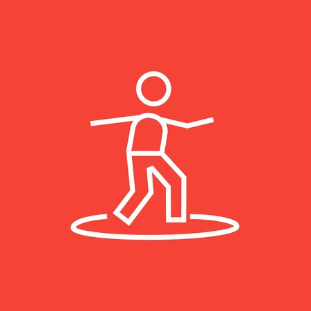 Male surfer riding on surfboard thick line icon with pointed corners and edges for web, mobile and infographics. Vector isolated icon.