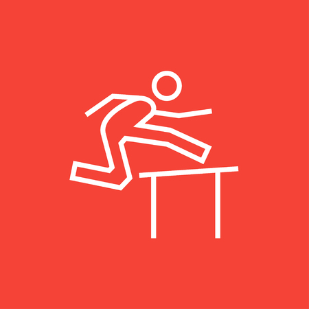 race winner: Man running over barrier thick line icon with pointed corners and edges for web, mobile and infographics. Vector isolated icon.