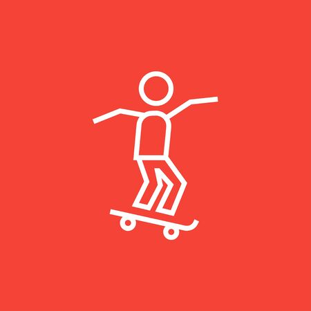 Man riding on a skateboard thick line icon with pointed corners and edges for web, mobile and infographics. Vector isolated icon.