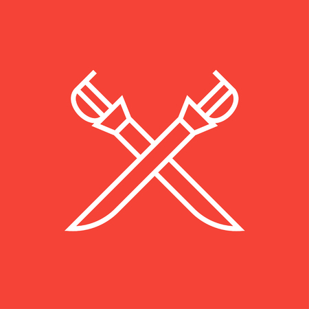 saber: Crossed saber thick line icon with pointed corners and edges for web, mobile and infographics. Vector isolated icon. Illustration