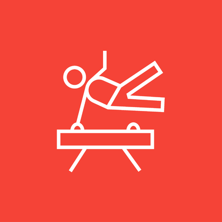 Gymnast exercising on the pommel horse thick line icon with pointed corners and edges for web, mobile and infographics. Vector isolated icon.