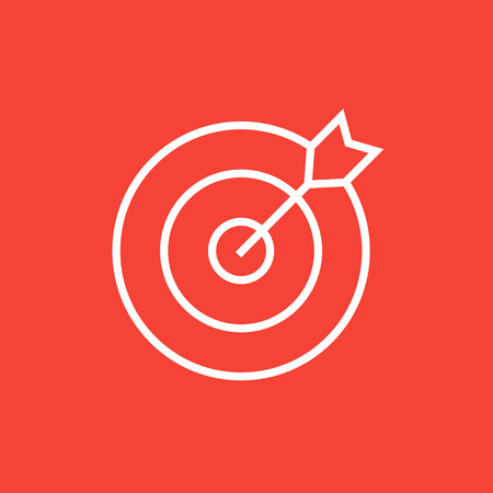 minimal: Target board and arrow thick line icon with pointed corners and edges for web, mobile and infographics. Vector isolated icon. Illustration
