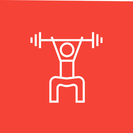Man exercising with barbell thick line icon with pointed corners and edges for web, mobile and infographics. Vector isolated icon.