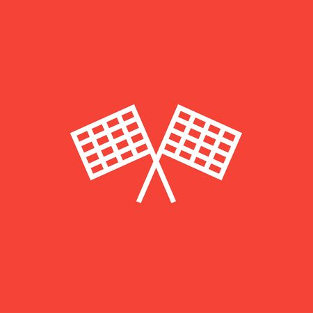two crossed checkered flags: Two checkered flag thick line icon with pointed corners and edges for web, mobile and infographics. Vector isolated icon.