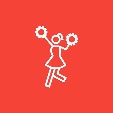 cheer leader: Cheerleader thick line icon with pointed corners and edges for web, mobile and infographics. Vector isolated icon.