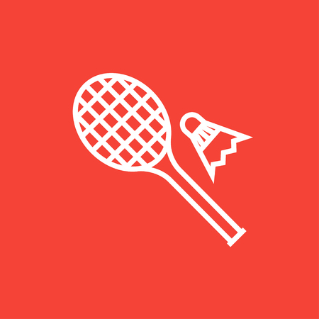 battledore: Shuttlecock and badminton racket thick line icon with pointed corners and edges for web, mobile and infographics. Vector isolated icon. Illustration
