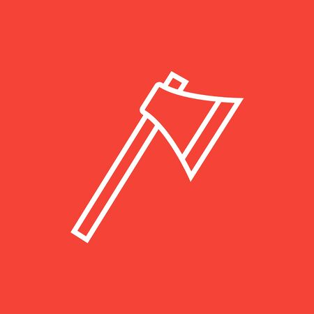 hatchet: Ax thick line icon with pointed corners and edges for web, mobile and infographics. Vector isolated icon.