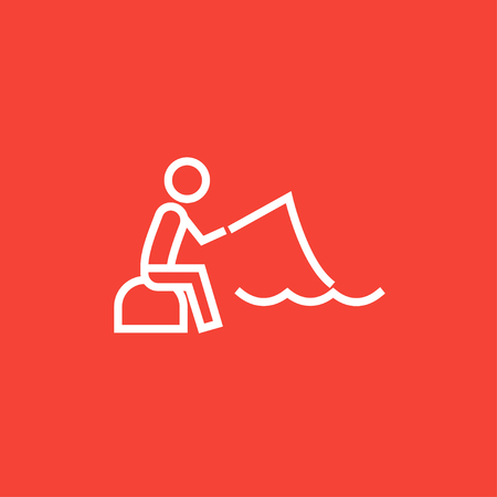 hand line fishing: Fisherman sitting with rod thick line icon with pointed corners and edges for web, mobile and infographics. Vector isolated icon.