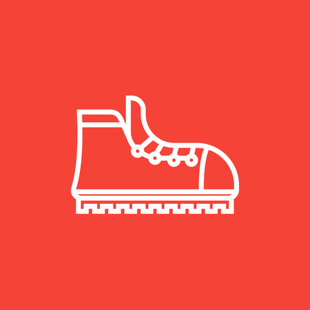 hiking boot: Hiking boot with crampons thick line icon with pointed corners and edges for web, mobile and infographics. Vector isolated icon.