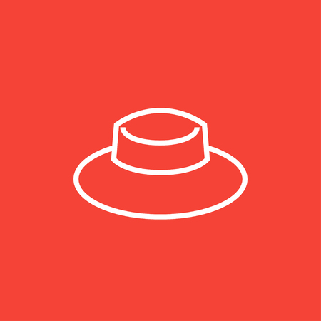 panama hat: Summer hat thick line icon with pointed corners and edges for web, mobile and infographics. Vector isolated icon. Illustration