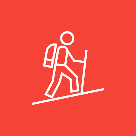 backpacker: Tourist backpacker thick line icon with pointed corners and edges for web, mobile and infographics. Vector isolated icon.