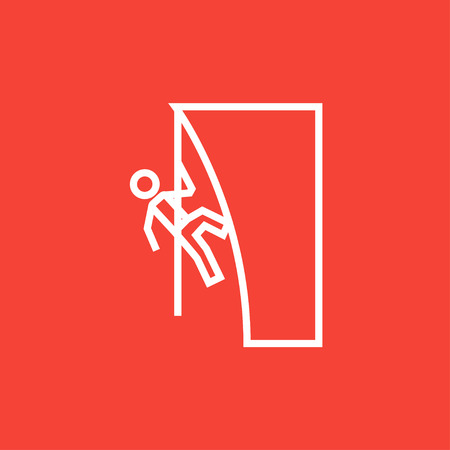 cling: Rock climber climbing an overhanging cliff thick line icon with pointed corners and edges for web, mobile and infographics. Vector isolated icon.