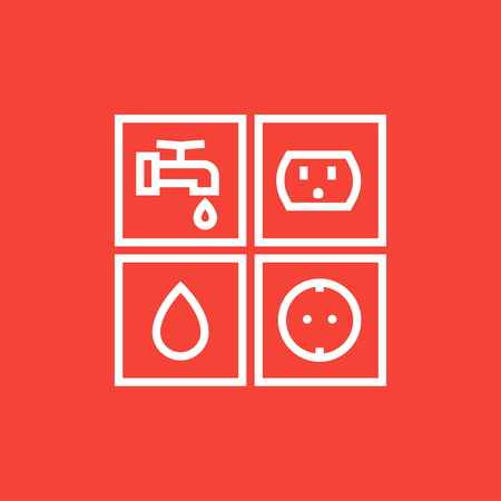 utilities: Utilities signs electricity and water thick line icon with pointed corners and edges for web, mobile and infographics. Vector isolated icon.