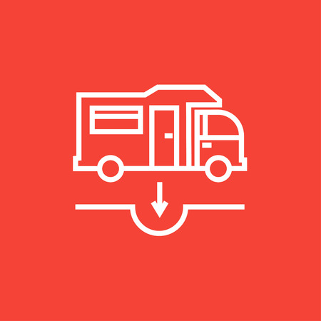 sump: Motorhome and sump thick line icon with pointed corners and edges for web, mobile and infographics. Vector isolated icon.