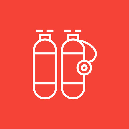 compressed gas: Oxygen tank thick line icon with pointed corners and edges for web, mobile and infographics. Vector isolated icon.