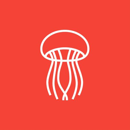 Jellyfish thick line icon with pointed corners and edges for web, mobile and infographics. Vector isolated icon.