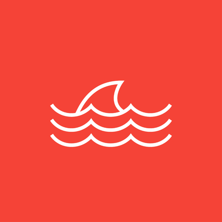 dorsal: Dorsal shark fin above water thick line icon with pointed corners and edges for web, mobile and infographics. Vector isolated icon. Illustration