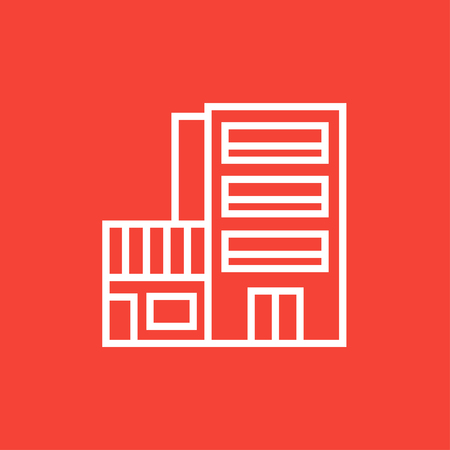 multi storey: Hotel building thick line icon with pointed corners and edges for web, mobile and infographics. Vector isolated icon.