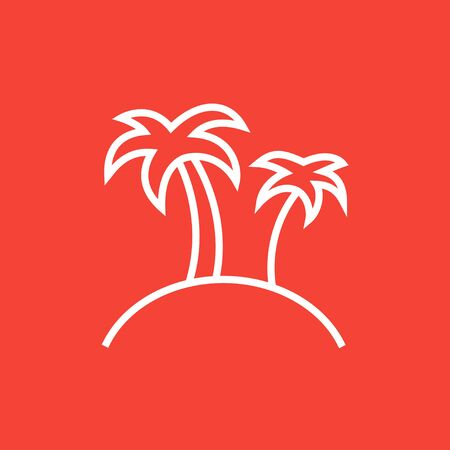 coast: Two palm trees on an island thick line icon with pointed corners and edges for web, mobile and infographics. Vector isolated icon.