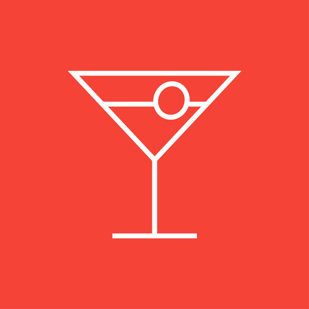 vermouth: Cocktail glass thick line icon with pointed corners and edges for web, mobile and infographics. Vector isolated icon.