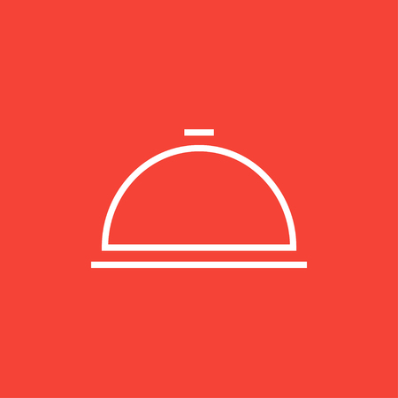 Restaurant cloche thick line icon with pointed corners and edges for web, mobile and infographics. Vector isolated icon.