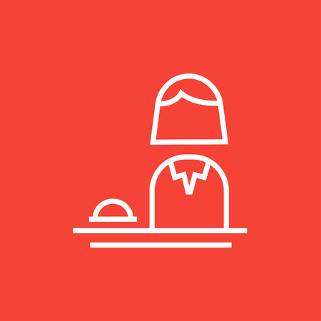 femal: Femal receptionist thick line icon with pointed corners and edges for web, mobile and infographics. Vector isolated icon. Illustration