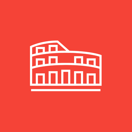 Coliseum thick line icon with pointed corners and edges for web, mobile and infographics. Vector isolated icon.