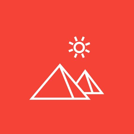 Egyptian pyramids thick line icon with pointed corners and edges for web, mobile and infographics. Vector isolated icon. 向量圖像