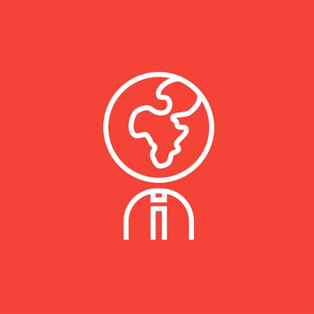 Human with globe head thick line icon with pointed corners and edges for web, mobile and infographics. Vector isolated icon. Illustration