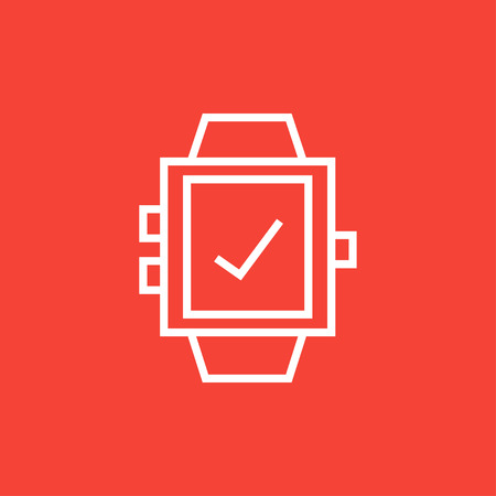 check sign: Smartwatch with check sign thick line icon with pointed corners and edges for web, mobile and infographics. Vector isolated icon.