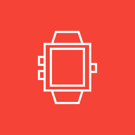 Smartwatch thick line icon with pointed corners and edges for web, mobile and infographics. Vector isolated icon.  イラスト・ベクター素材