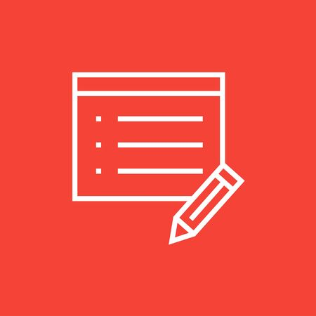 taking notes: Notepad and pencil thick line icon with pointed corners and edges for web, mobile and infographics. Vector isolated icon.