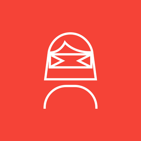 Woman wearing virtual reality headset thick line icon with pointed corners and edges for web, mobile and infographics. Vector isolated icon.