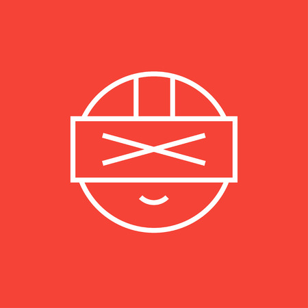 device: Man wearing virtual reality headset thick line icon with pointed corners and edges for web, mobile and infographics. Vector isolated icon. Illustration