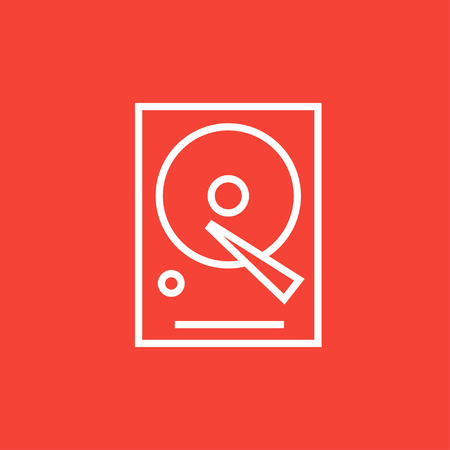 Hard disk thick line icon with pointed corners and edges for web, mobile and infographics. Vector isolated icon. Illustration
