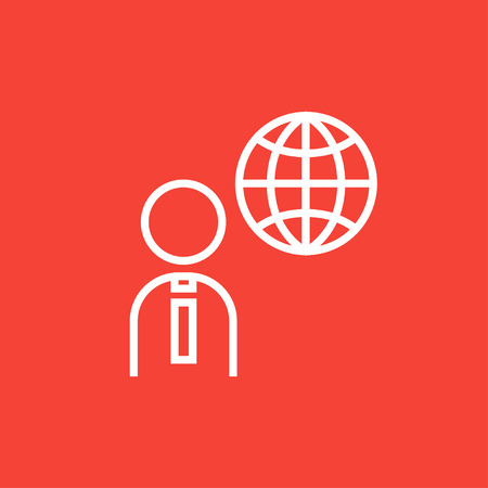 transnational: Man with globe thick line icon with pointed corners and edges for web, mobile and infographics. Vector isolated icon. Illustration