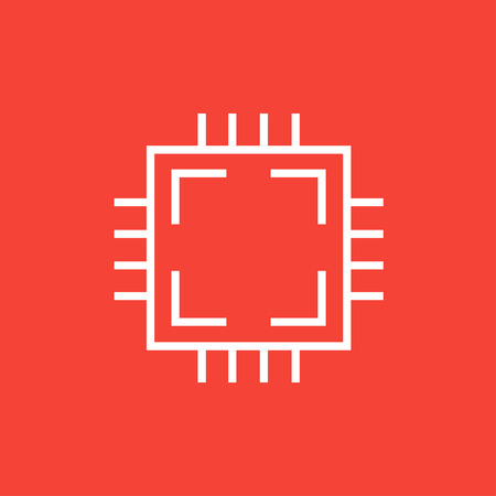 CPU thick line icon with pointed corners and edges for web, mobile and infographics. Vector isolated icon.