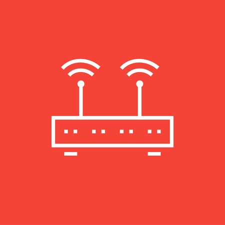 connection block: Wireless router thick line icon with pointed corners and edges for web, mobile and infographics. Vector isolated icon.