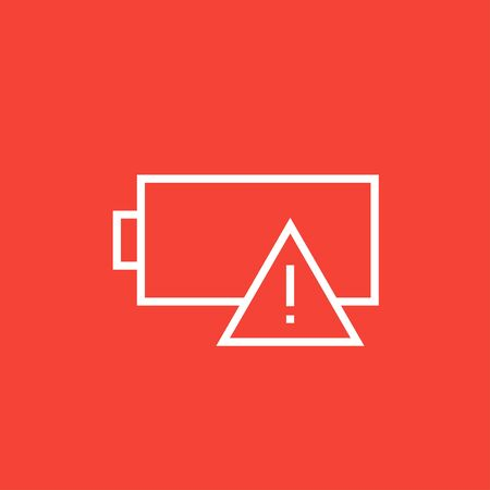 warning indicator: Empty battery thick line icon with pointed corners and edges for web, mobile and infographics. Vector isolated icon. Illustration