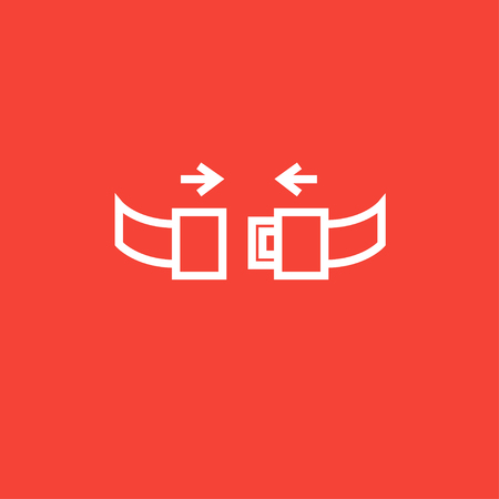turbulence: Seat belt thick line icon with pointed corners and edges for web, mobile and infographics. Vector isolated icon. Illustration