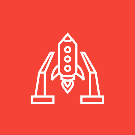 takeoff: Space shuttle on a take-off area thick line icon with pointed corners and edges for web, mobile and infographics. Vector isolated icon.