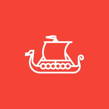 Old ship thick line icon with pointed corners and edges for web, mobile and infographics. Vector isolated icon.  イラスト・ベクター素材