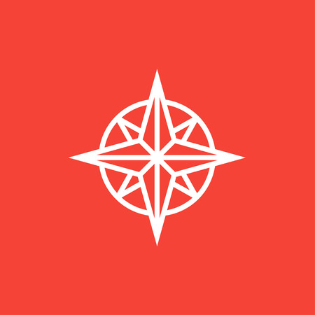 gps device: Compass wind rose thick line icon with pointed corners and edges for web, mobile and infographics. Vector isolated icon.