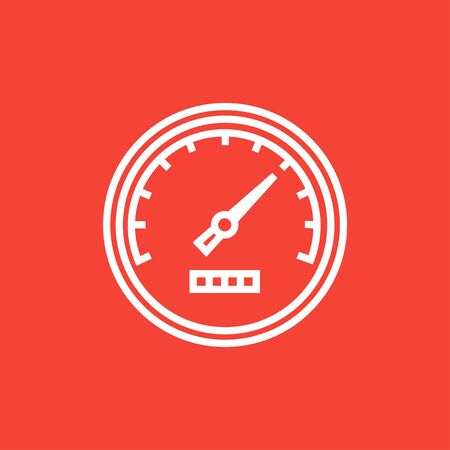 Speedometer thick line icon with pointed corners and edges for web, mobile and infographics. Vector isolated icon.