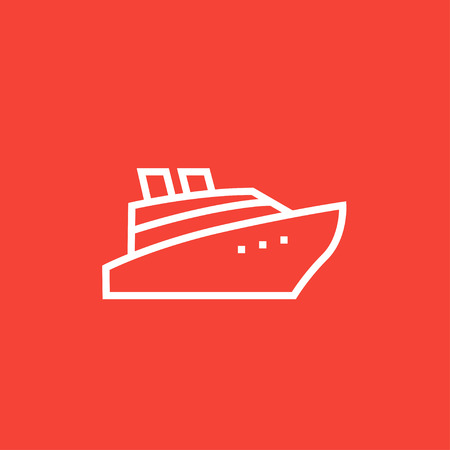 Cruise ship thick line icon with pointed corners and edges for web, mobile and infographics. Vector isolated icon. 版權商用圖片 - 55048156