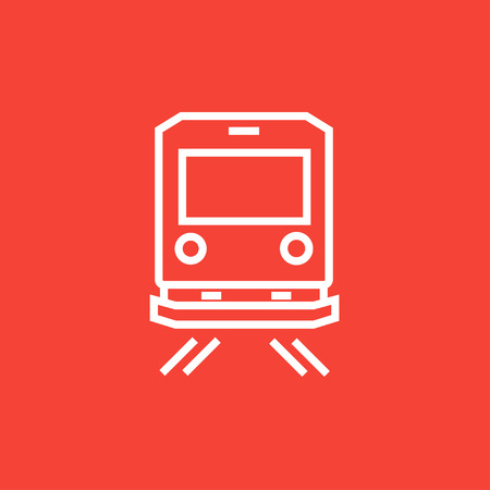 goods train: Back view of train thick line icon with pointed corners and edges for web, mobile and infographics. Vector isolated icon.