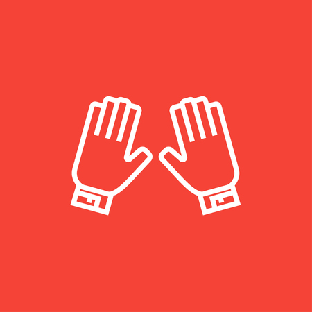 motorsports: Motorcycle gloves thick line icon with pointed corners and edges for web, mobile and infographics. Vector isolated icon.