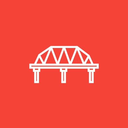 Rail way bridge thick line icon with pointed corners and edges for web, mobile and infographics. Vector isolated icon.